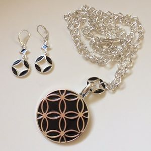 🚫SOLD🚫 NWOT Black & Silver Geometric Jewelry Set